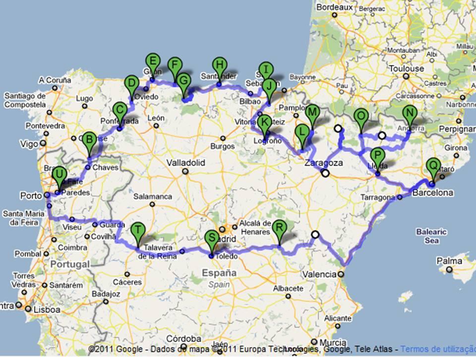 3 - Passeando pelo norte de Espanha - um esboço do caminho...